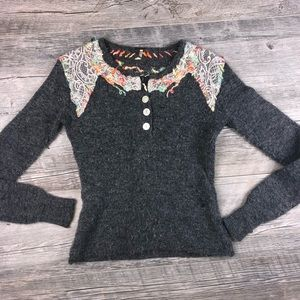 Free People Grey Embroidered Wool Sweater